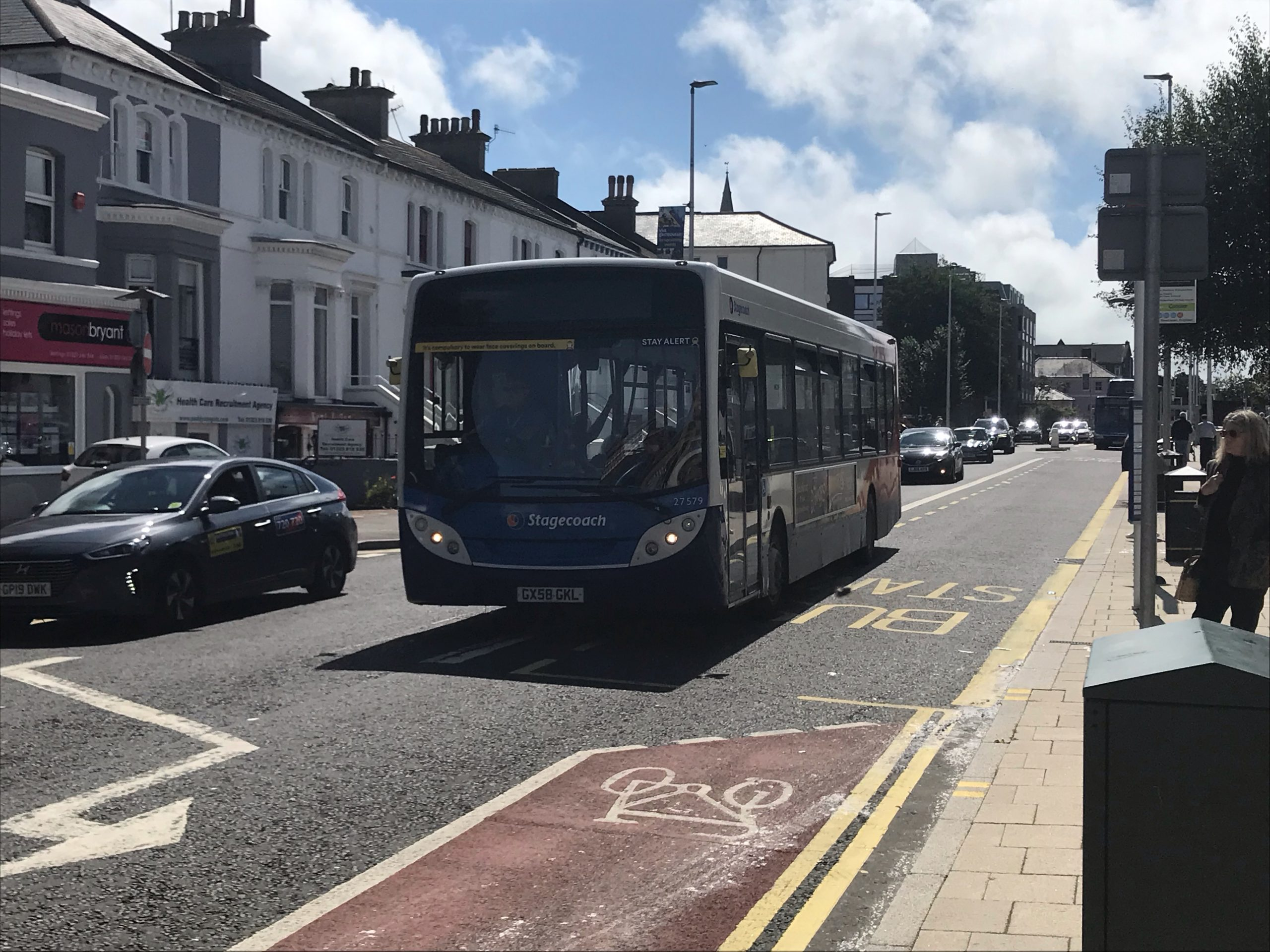 A Stagecoach bus drives through the Eastbourne Town Centre